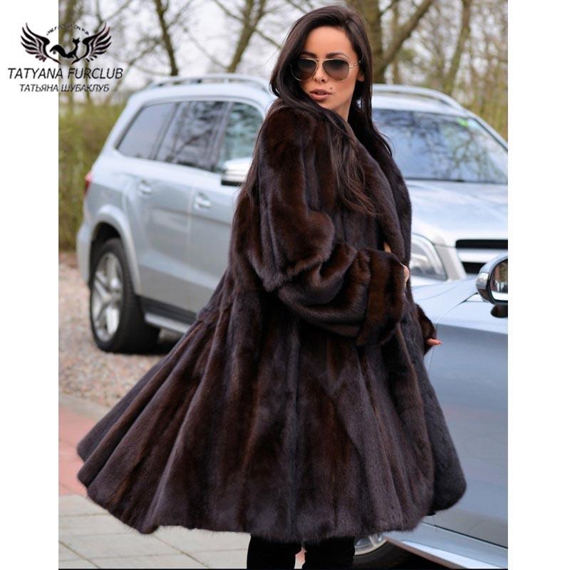 Nouveaux Lâche Manteaux De 100 Longue Vison Réel Type Vestes Fourrure Brown Manteau Prochainement Outwear Femmes Tatyana 2018 Mode Cm Jupe wNOZ8n0XPk