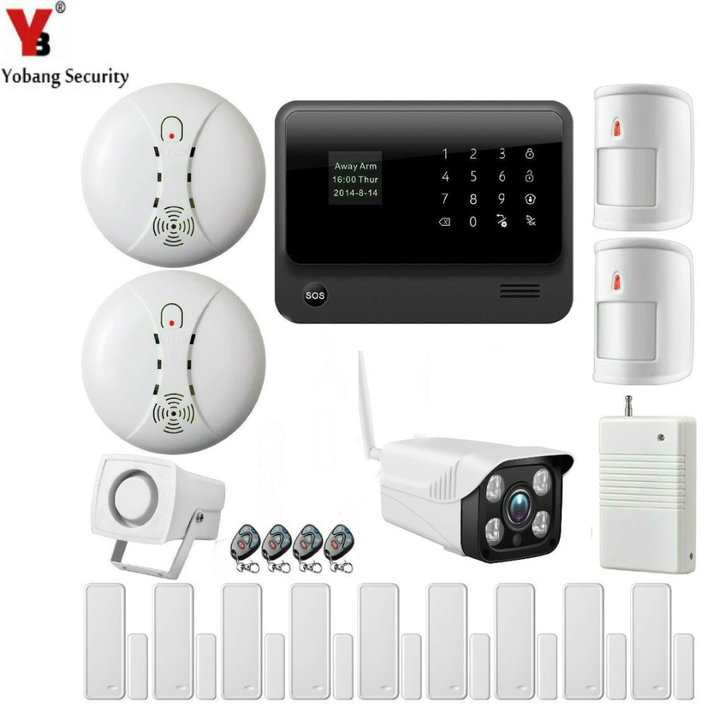 YobangSecurity WiFi Alarm System IOS Android APP Control Home Security Alarm System with IP Camera Smoke Detector Sensor kerui w2 wifi gsm home burglar security alarm system ios android app control used with ip camera pir detector door sensor