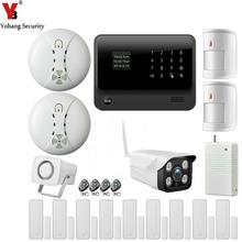 YobangSecurity WiFi Alarm System IOS Android APP Control Home Security Alarm System with IP Camera Smoke Detector Sensor