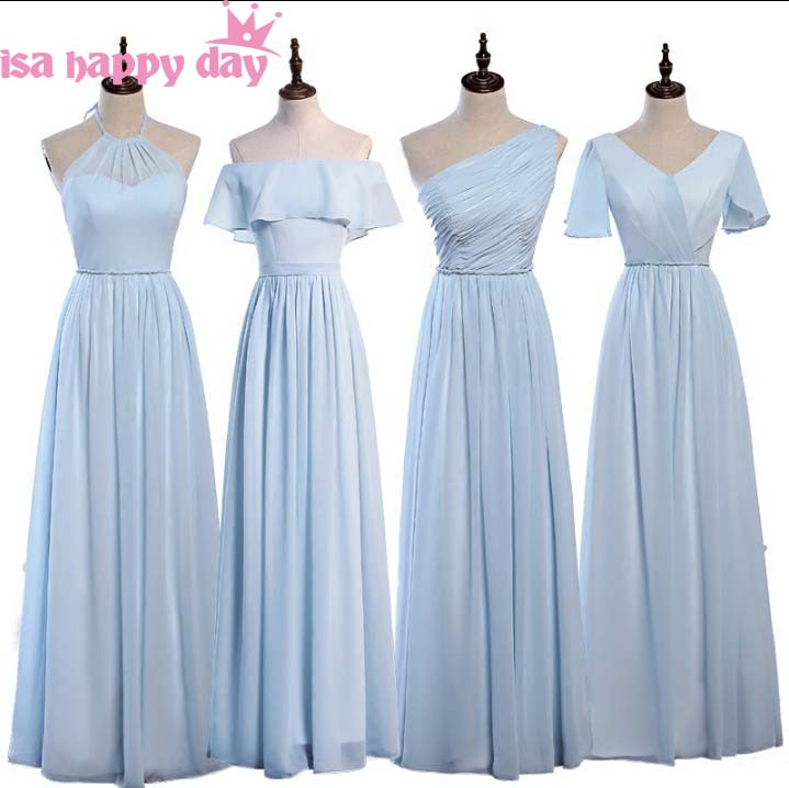 women robe de soiree fashion gown elegant woman long   dress   bride chiffon bride made blue   bridesmaid     dresses   under 100 H4264