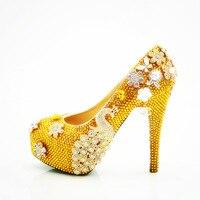 Moraima Snc di marca scarpe gialle donne Phoenix fiore di cristallo pompe sexy degli alti talloni pattini delle ragazze pattini del partito scarpe donna stiletto
