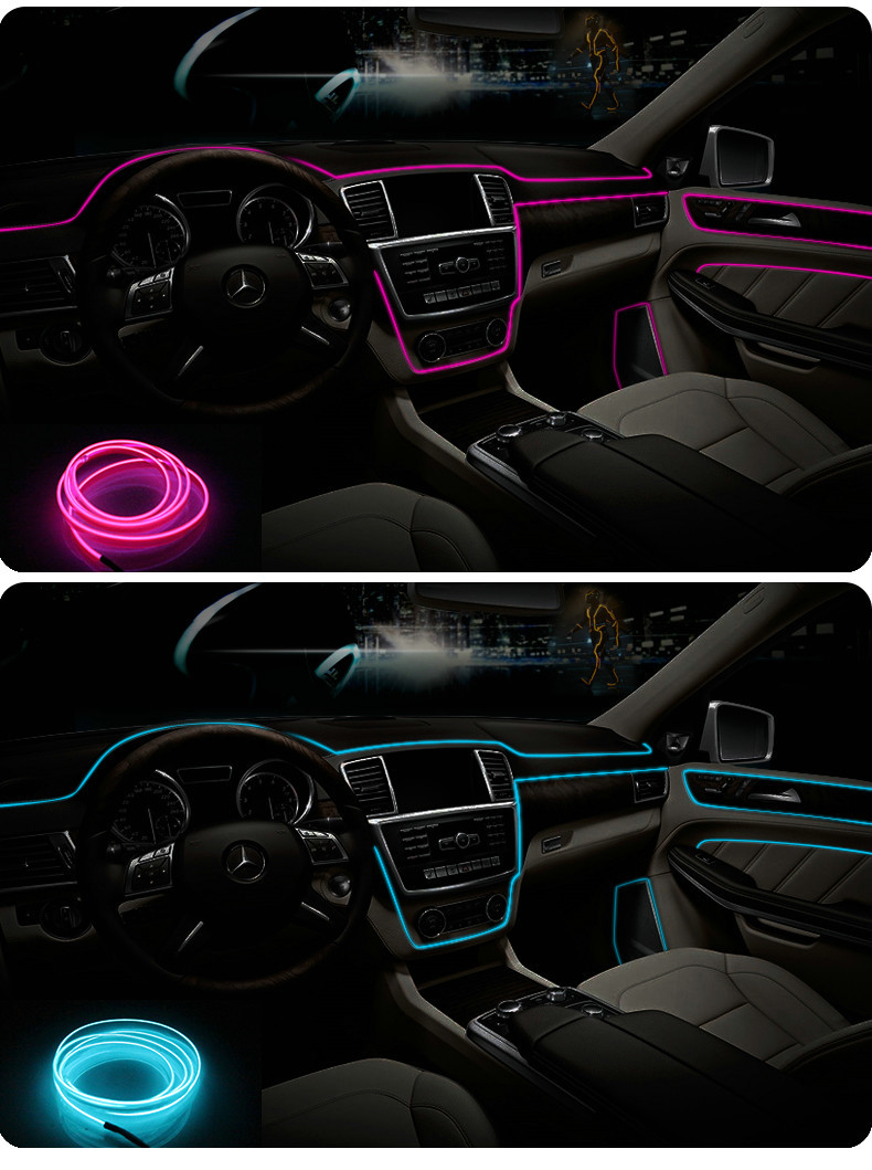 3m/5m Car 12V LED Cold lights Flexible Neon EL Wire Auto Lamps on Car Cold Light Strips Line Interior Decoration Strips lamps