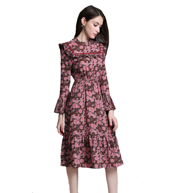 52917a5d5c7a9 2018 Spring New Elegant Floral Printed Long Sleeve Dress Women's Dress  180402Z02-in Dresses from Women's Clothing & Accessories on Aliexpress.com  | ...