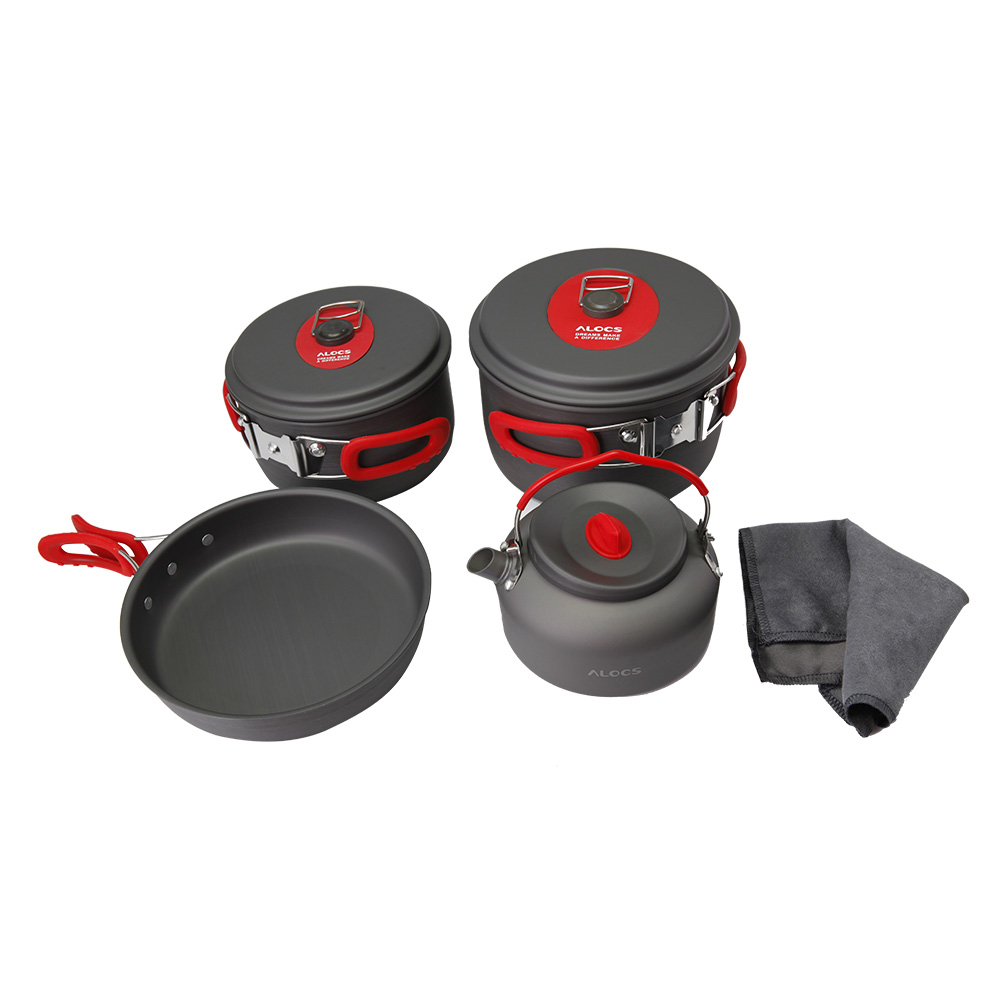 New Portable Ultralight Aluminum Outdoor Camping Hiking Fishing Cookware Cooking Picnic Pan Pot Teapot Dishcloth Set 3-4 People цены онлайн