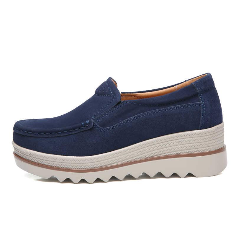 Sommer Frauen Schuhe Plattform Turnschuhe Slip auf Wohnungen Leder Wildleder Damen Loafers Mokassins Aushöhlen Casual Schuhe Frauen Creepers
