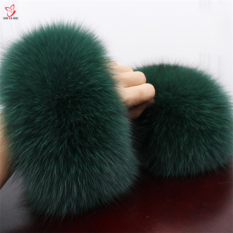 One Pair Winter Warm Hairy Real  Fox  Fur Women Clothing Accessories Fox Fur Fashion Wrist  Free Delivery L#136