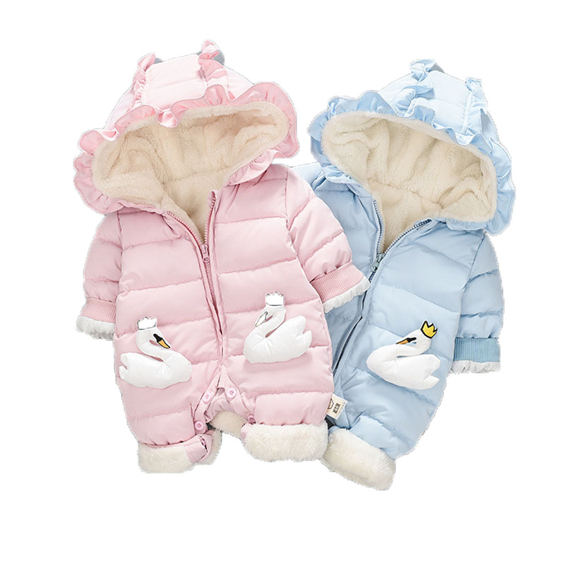 New Baby Hooded Rompers Newborn Overalls Children Kids Winter Jumpsuit Baby Girls Boys Infant Warm Snowsuit Cotton Clothes E191 kids winter overalls for girls 2017 newborn clothes infant cartoon baby boys hooded rompers thicken warm cotton baby snow suits page 2
