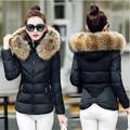 Cuello de piel sintética parka chaqueta de algodón 2016 de la Chaqueta de Invierno mujeres desgaste de la nieve gruesa capa de la señora clothing mujer chaquetas parkas 4