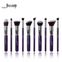 Jessup 10Pcs Professional Make Up Brushes Set Foundation Blusher Kabuki Powder Eyeshadow Blending Eyebrow Brushes Purple
