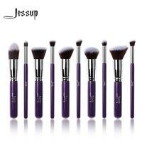 Jessup 10Pcs Professional Make Up Brushes Set Foundation Blusher Kabuki Powder Eyeshadow Blending Eyebrow Brushes Purple