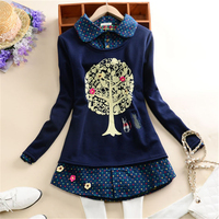 2017 Autumn Winter Kimono Cute Tree Fake Two Plaid Cashmere Blouses And Tops Women Casual Peter