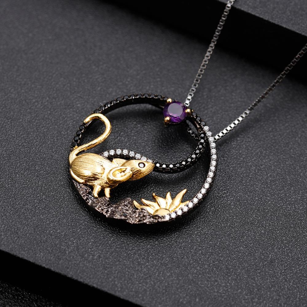 Image 5 - GEMS BALLET, серебро 925 пробы, кулон ручной работы крыса,  ожерелье, натуральный аметистовый драгоченный камень, китайский зодиак,  ювелирные изделия для женщинПодвески