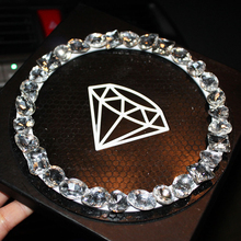 Car Ornament Anti-slip Mat Crystal Bowknot Silicone Decoration Non-slip Pad Auto Interior Car Dashboard For Cell phone 15X15CM