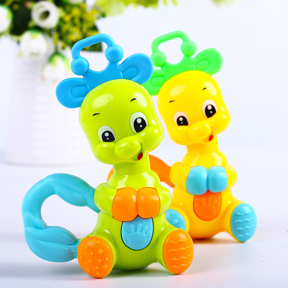 Baby Rattle Cute  Toys Cartoon Animal Hand Bell Rattle Soft Toddler Bebe Toys 0-12 Months Baby Animals Transparent
