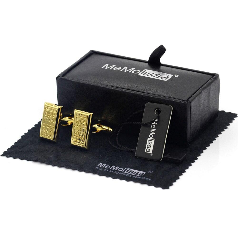 MeMolissa Display Box Exquisite Rectangular Gold Bar Design Wedding Cufflinks High Quality Abotoadura Free Tag & Wipe Cloth