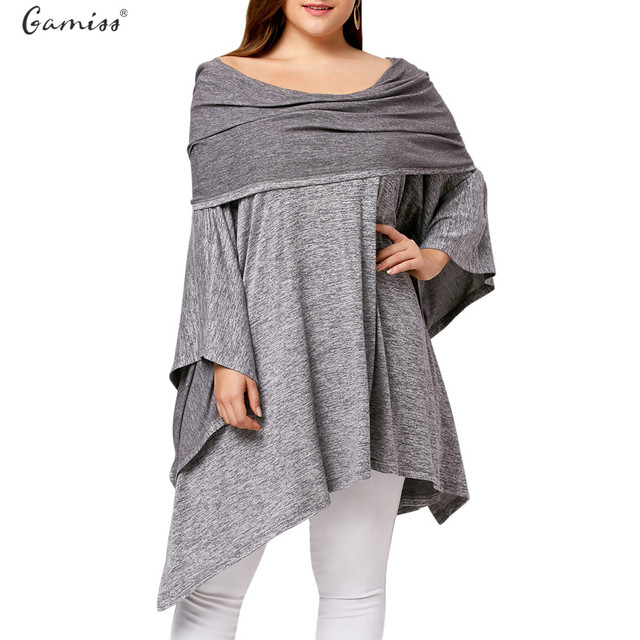 1d432cabb83 Gamiss Women Hooded T-Shirts Long Batwing Sleeves Asymmetric Plus Size Off  Shoulder Tunic Tops Spring Autumn Big Size Female Tee