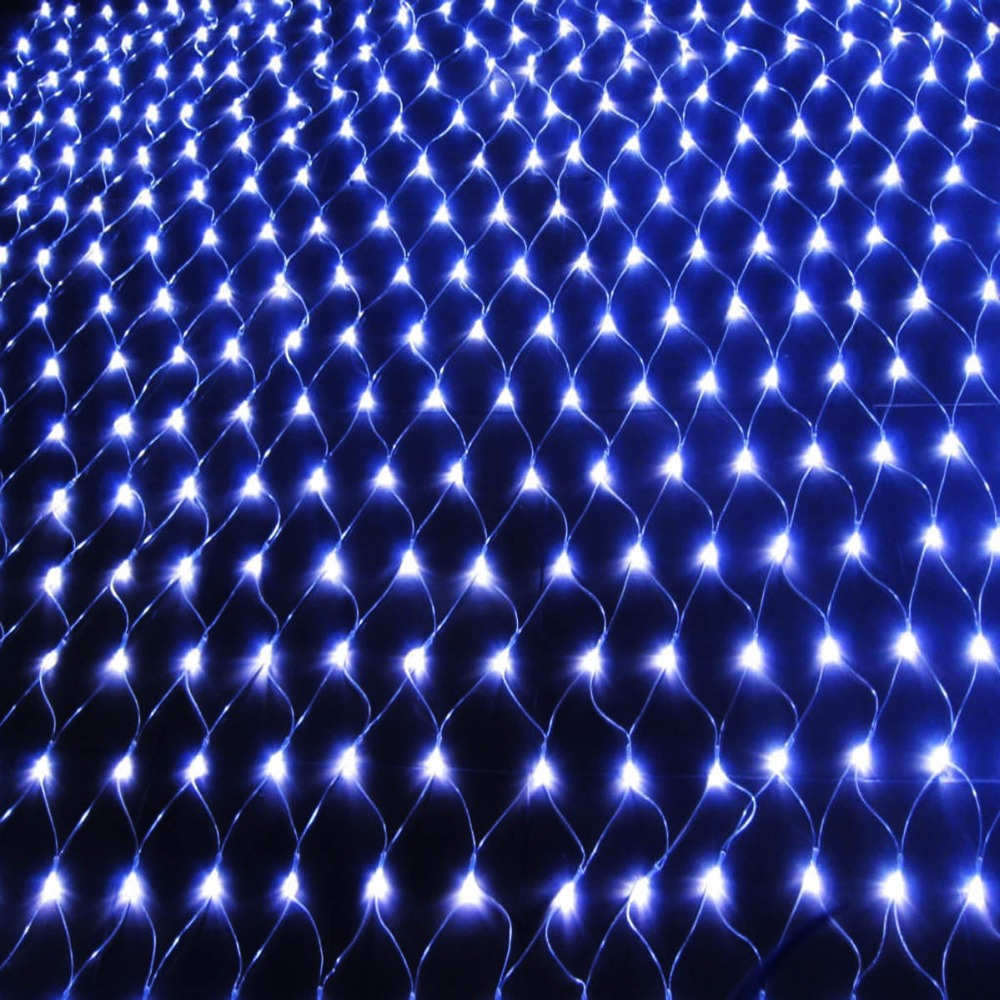 Újév! 1db 220V Multicolor 96 LEDS 1.5M * 1.5cm LED Net String Xmas - Üdülési világítás