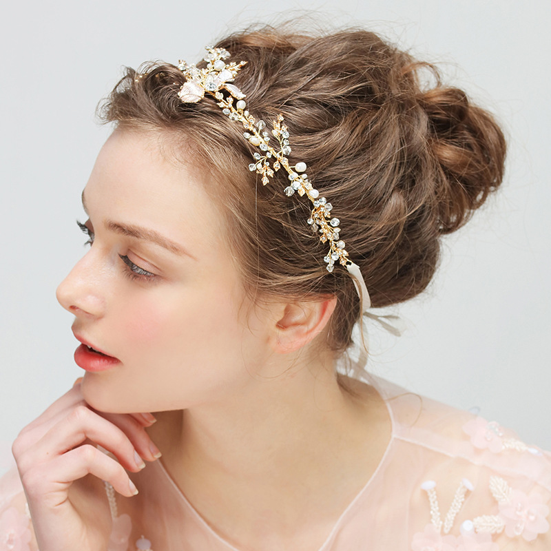Dower me Bridal Gold Leaf Headband Tiara Pearls Hair Jewelry Handmade  Wedding Accessories Women Prom Headpiece -in Hair Jewelry from Jewelry    Accessories ... 8b696ec68c32