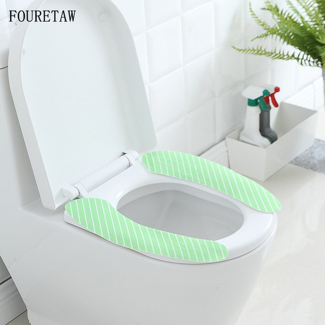 FOURETAW Cotton Linter Pink Blue Brown Soft Adhesive Sticky Toilet Mat Seat Heated Closestool Pad Washable