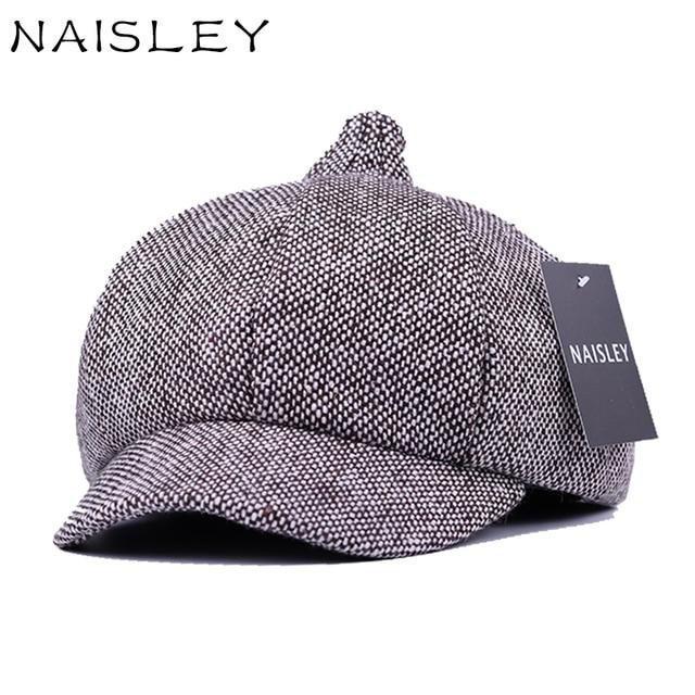 NAISLEY Brand Cotton Cap Retro Elegant Winter Female Beret Duckbill Ivy Cap  Woman Girl Flat Cabbie Newsboy Warm Hat Black Grey d31791e3319e