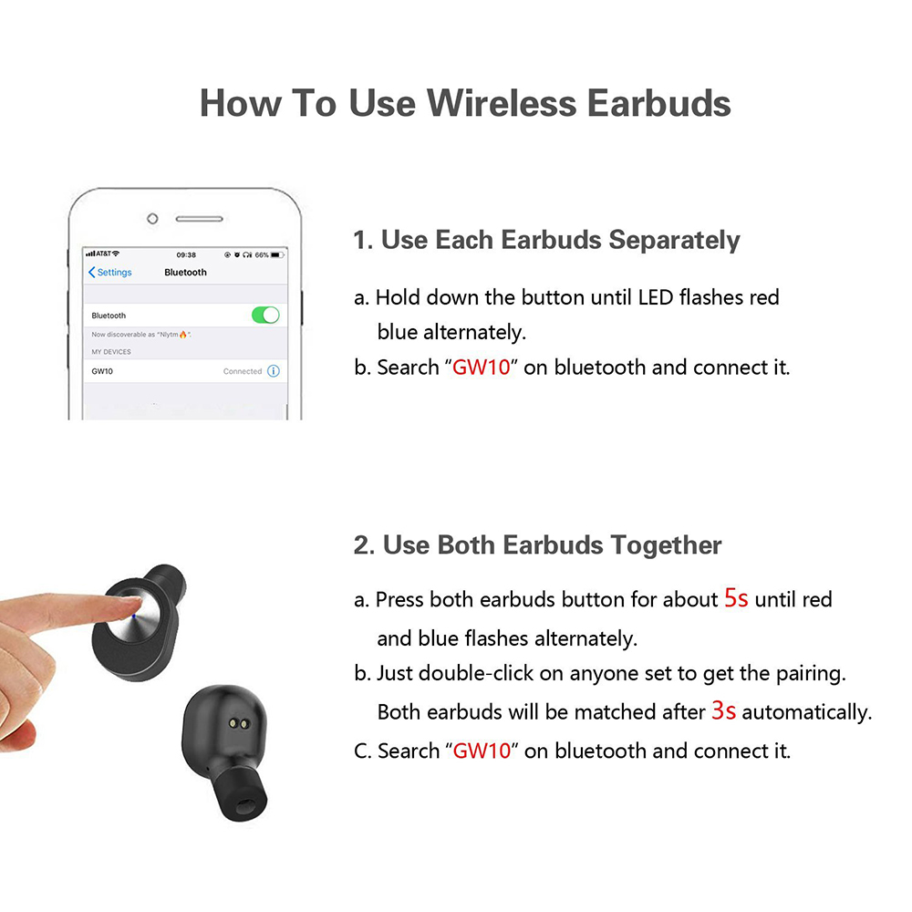 Bluenin True Draadloze Hoofdtelefoon Sport Bluetooth V4.2 Oordopjes Best In Ear Draadloze Koptelefoon met Opladen Case voor huawei p9 lite - 5