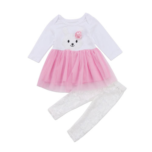 2Pcs Kids Baby Girls Clothes Sets Flower Tops Bunny Lace Tulle Dress Top Pants Outfits Set Clothing Baby Girl
