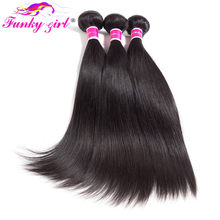 Funky Girl Hair Bundles Deals Peruvian Straight Hair 1/3/4 Pcs Human Hair Weave Bundles Natural Color Non-Remy Hair Extention(China)