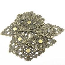 10Pcs Bag Ornament Decoration Connectors Filigree Retro Classic Hollow Wraps Alloy Jewelry DIY Findings Crafts 92mm