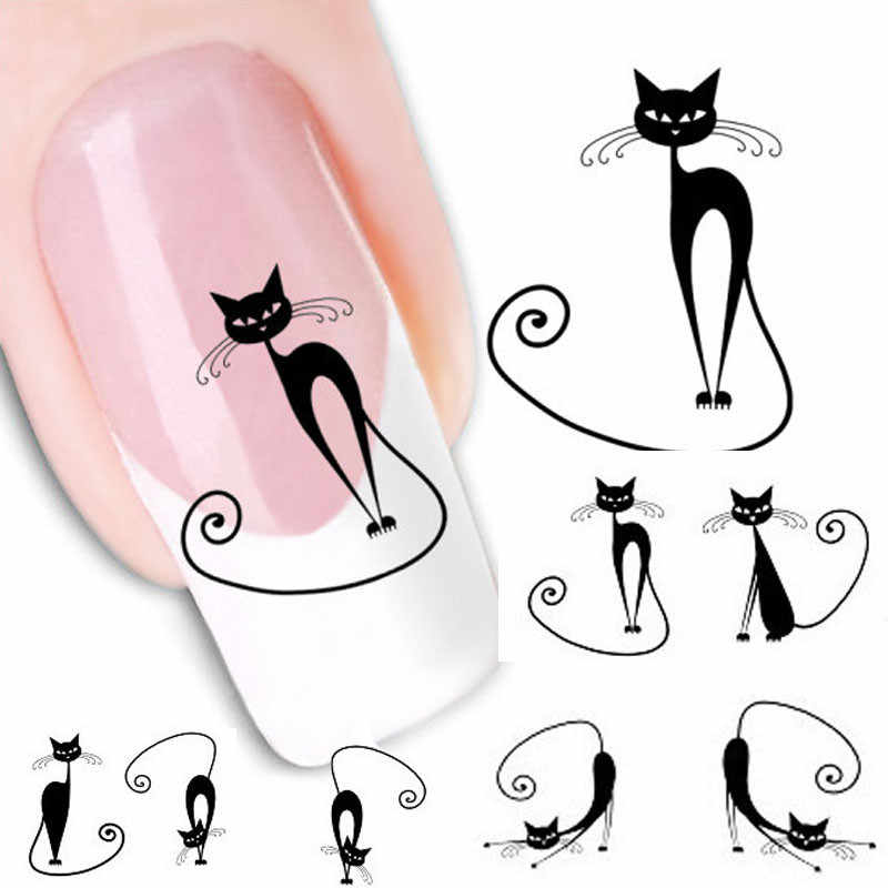 New Cat Water Transfer Slide Decal Sticker Nail Art Tips To Decor 5.2CMX6.3CM 3.18