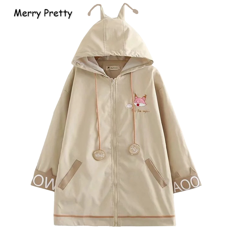 Merry Pretty Women Cartoon Fox Embroidery Long   Basic     Jackets   2019 Autumn Winter Long Sleeve Zippers Loose Hooded Outerwear Coat