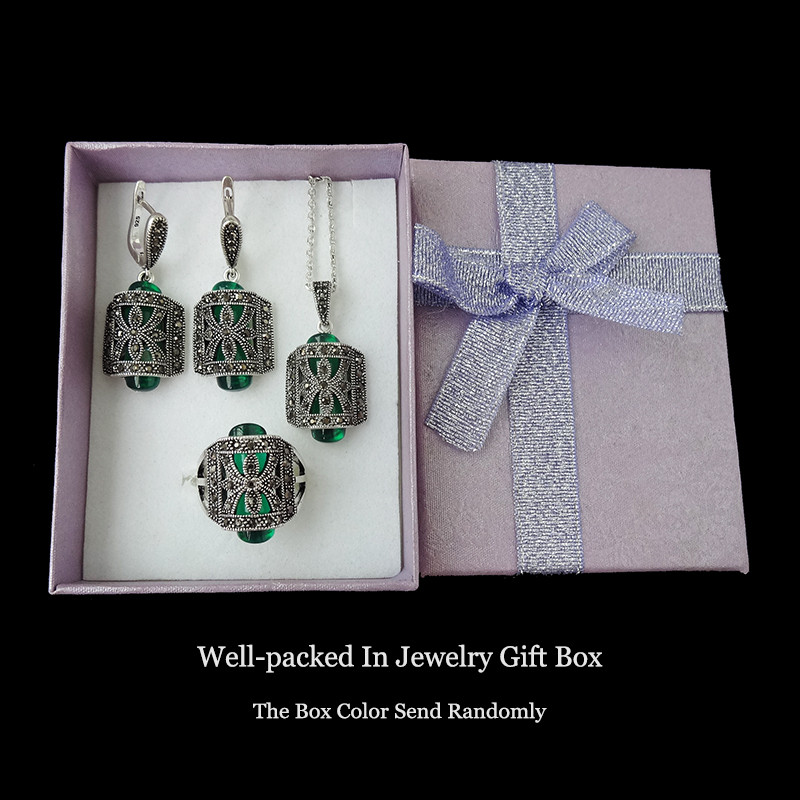 HTB1zrkfNpXXXXcdXVXXq6xXFXXXw - Feelgood Unique Antique Silver Color Jewellery Set Green Resin And Rhinestone Fashion Vintage Jewelry Sets For Women Mother Gift
