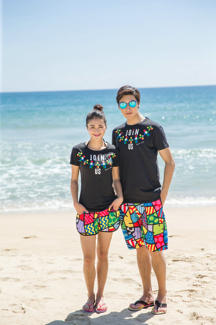 2016 New Arrival Couple Clothes Lovers Summer Casual T shirt Short Sleeve Beach Wear Cute Korean ...