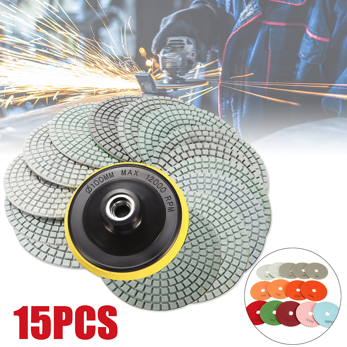 14Pcs 100mm 4inch Wet Dry Diamond Polishing Pad Grit 30#50#100#200#400#800#1500#3000#6000#+M14 For Granite Concrete Stone Marble