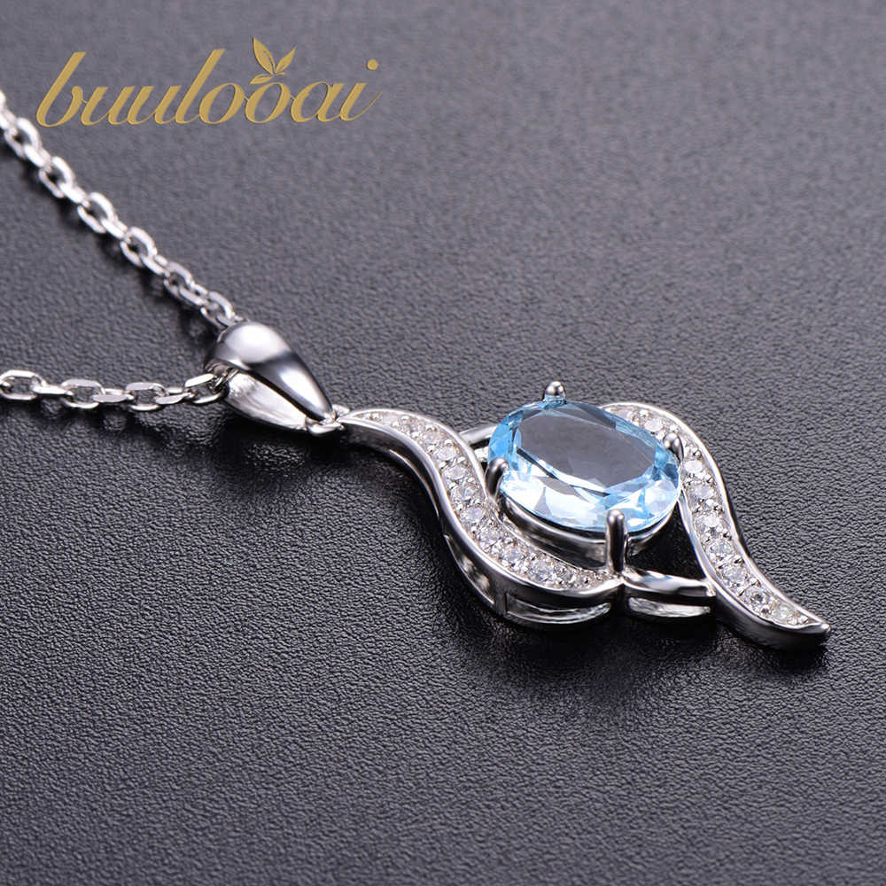 buulooai Solid 925 Sterling Silver Pendants Necklaces For Women Sky blue topaz Charm Pendant For Girl Gift Fine Jewelry