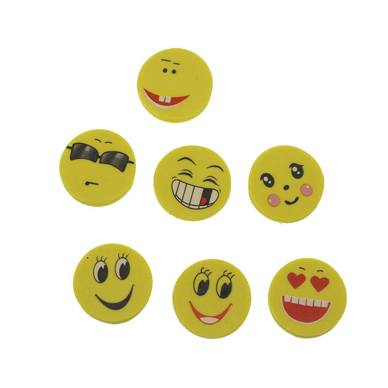 4 New Smiling Face Rubber Eraser To The Child A Lovely Paper School Office Stationery