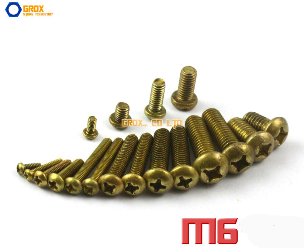 M6 Brass Phillips Pan Head Machine Screw 5pcs m6 m6 14 m6x14 brass cap copper half round pan head solid rivet