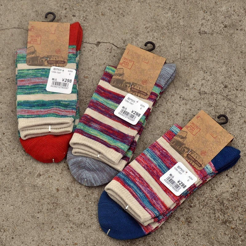 PEONFLY Japan Full Cotton Restore Ways Man Wind Male Happy Funny Men Novelty Socks Lot Colorful 3PAIRS/LOT