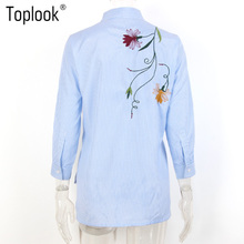 Toplook Bird Embroidery Blouse Blue Striped Summer Three Quarter Sleeve Shirt Women 2017 Tops Side Split Flower Vintage Blouses