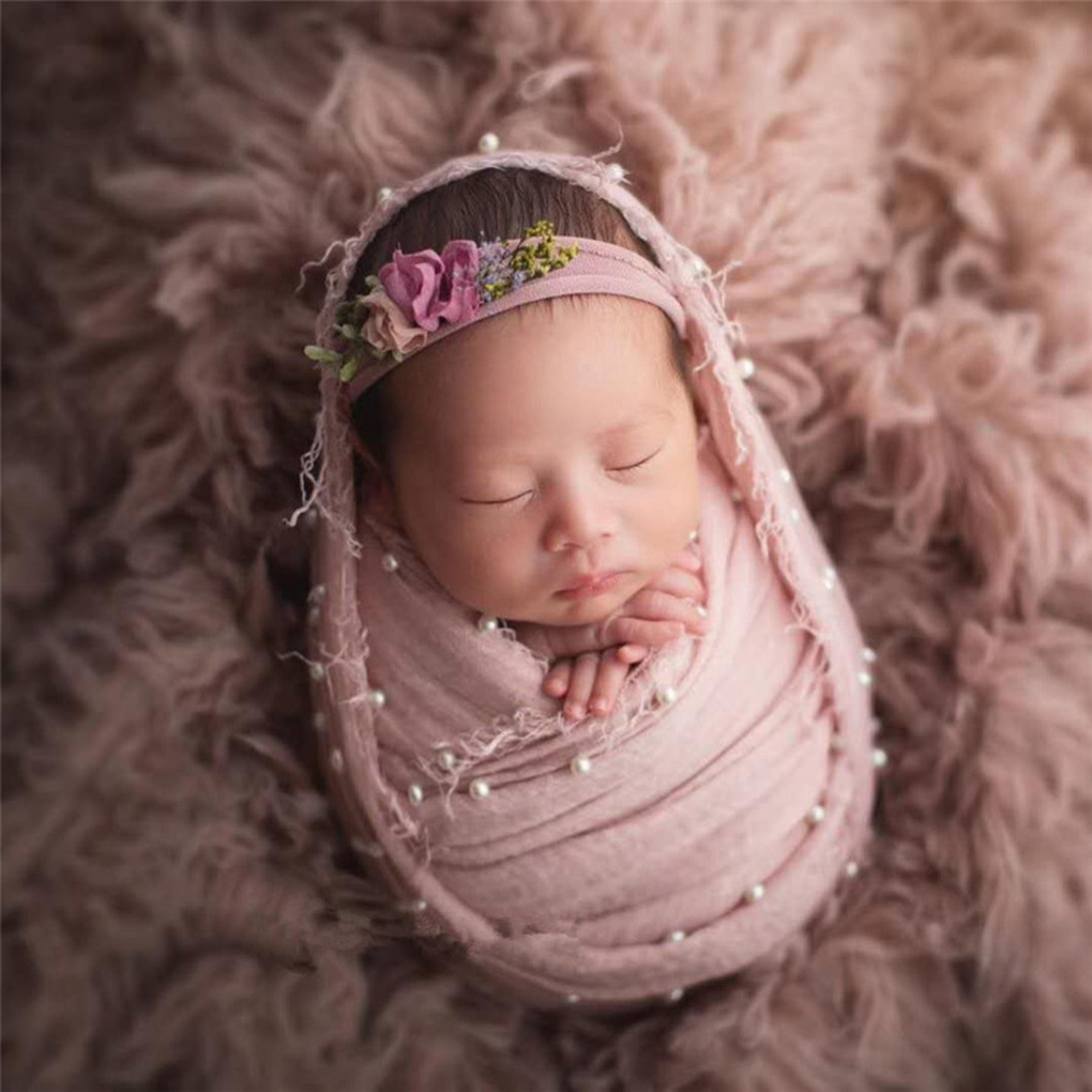 Newborn Photography Props Stretch Wraps Pearl Baby Girl Boy Fotoshooting Posing Prop Infant Shooting Wrap