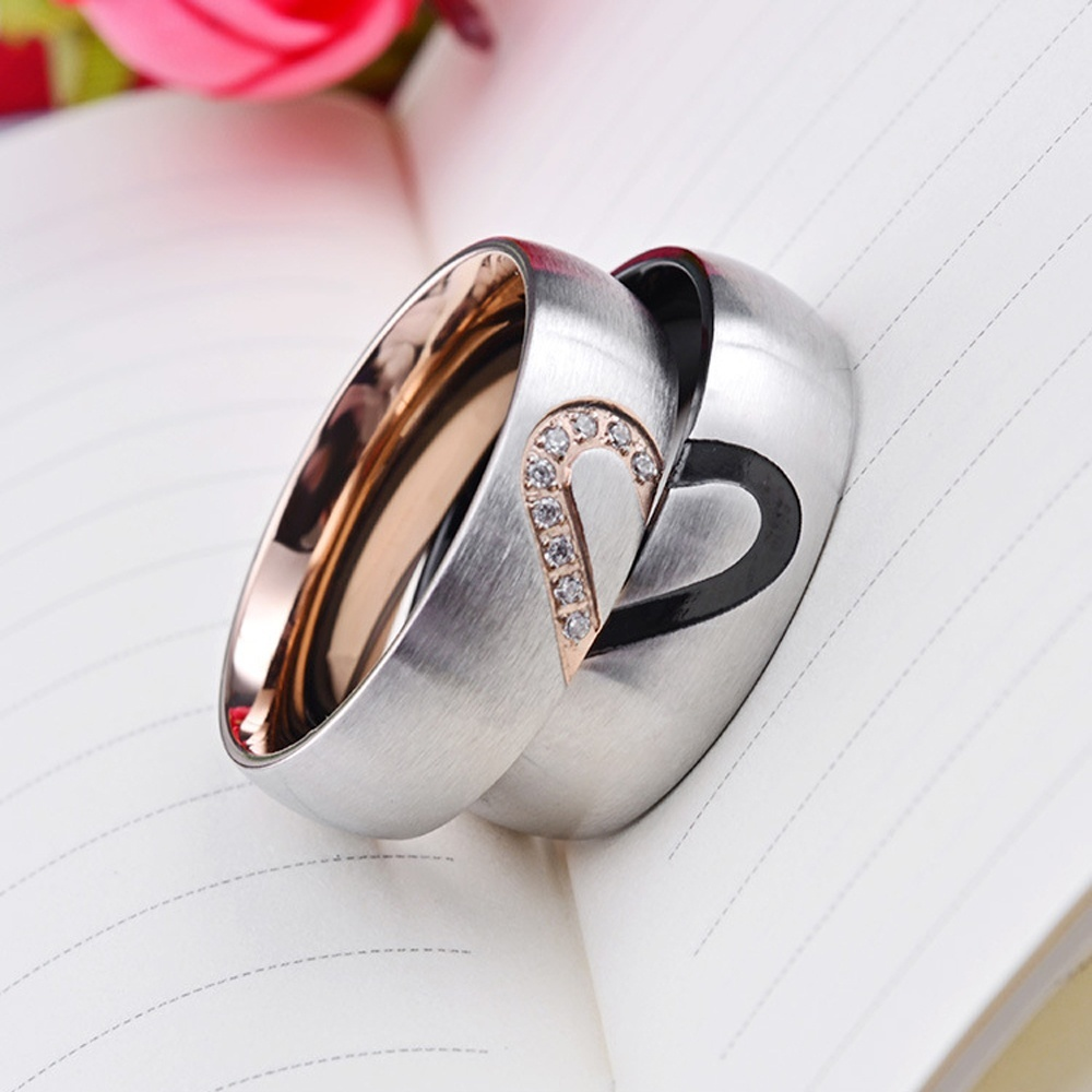 Fashion Rose Gold plated simulated Diamond titanium steel rings couple rings male and female Meaning Love bangle