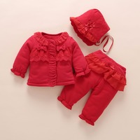 newborn baby girl clothes winter warm coat thick cotton outerwear 3 pcs outfit baby girls princess set roupa infantil