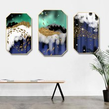 Nordic style INS Gold foil landscape blue abstract home hotel hanging painting background wall restaurant decorative mural