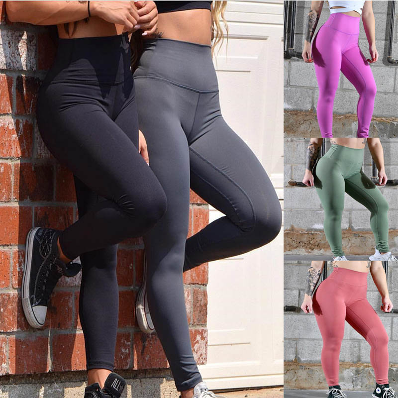 5 Colors Women's Fashion Solid Colors High Waist Leggings Patchwork Fitness Push Up Pants Leggins Mujer Sexy Hips Women Leggings