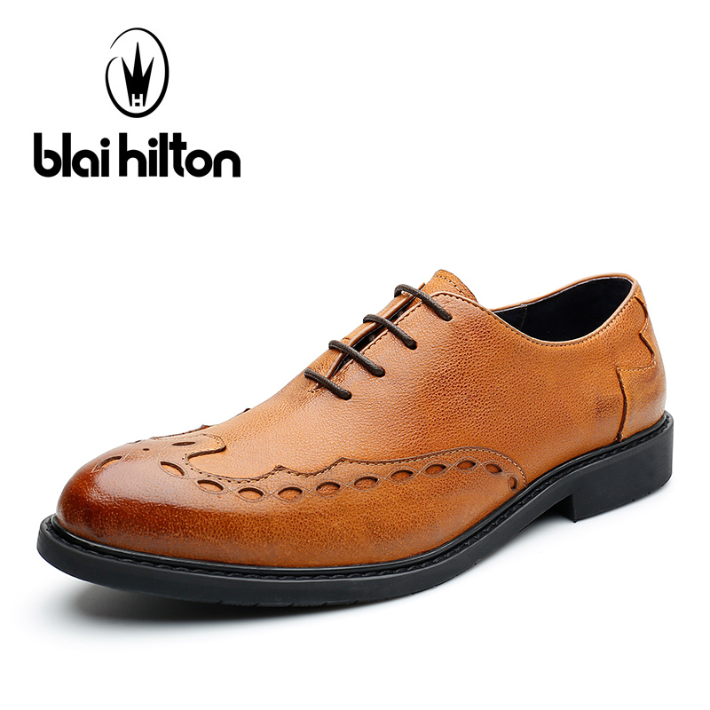 Blaibilton 100% Genuine Leather Men Shoes Oxford Elegant Formal Dress Business Classic Office Wedding Mens Casual Italian SD7113 top quality crocodile grain black oxfords mens dress shoes genuine leather business shoes mens formal wedding shoes