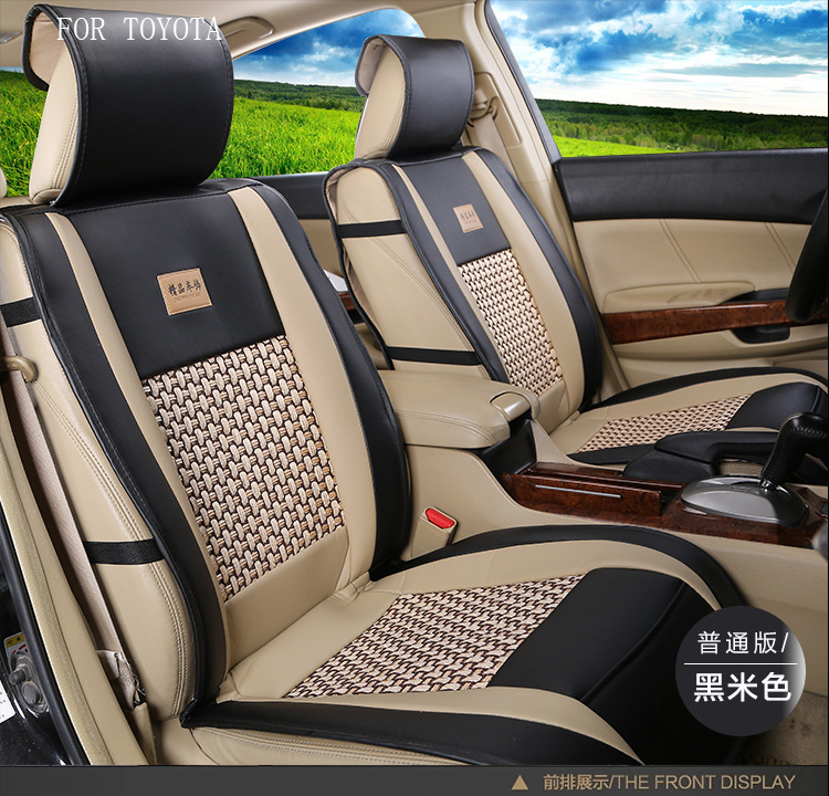 ФОТО for toyota corolla avensis camry yaris rav4 pu Leather weave Ventilate Front & Rear Complete car seat covers four seasons