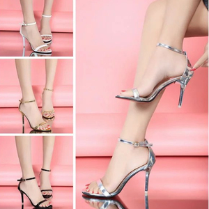 Ladies Summer High Heels Stiletto Buckle Strap Gladiator Sandals Peep Toe Shoes Women Party Sandals Shoes Black Silver Gold Hot(China)