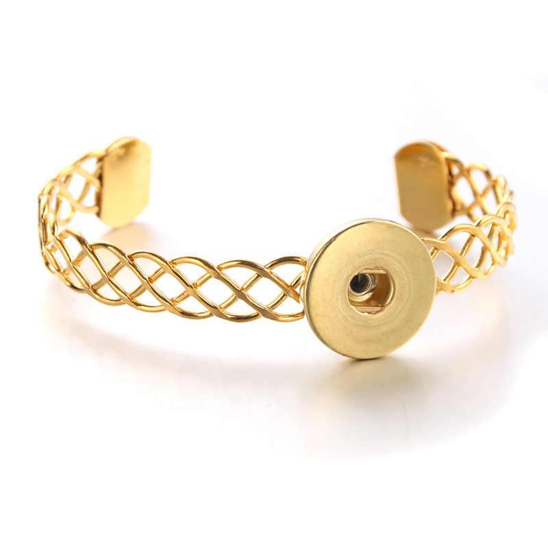 Nowe złote srebrne bransoletka Snap dla kobiet Fit DIY 18mm Snap biżuteria elastyczna bransoletka z zapięciem Snap biżuteria 9350