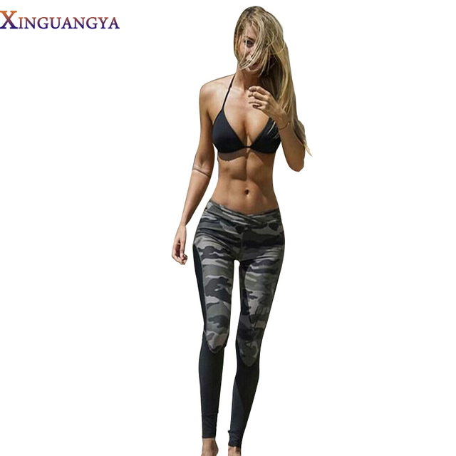 2017 Camouflage Patchwork Women Elastic Workout Leggings Fitness Legging Long Pants Slim Fashion Female fitness women