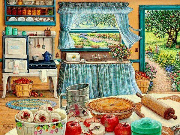 Oneroom Idyllischen küche dorf ordentlich Handgemachte Hand Stickerei DIY DMC Kreuz Stich Kits Handwerk 14CT Unbedruckte