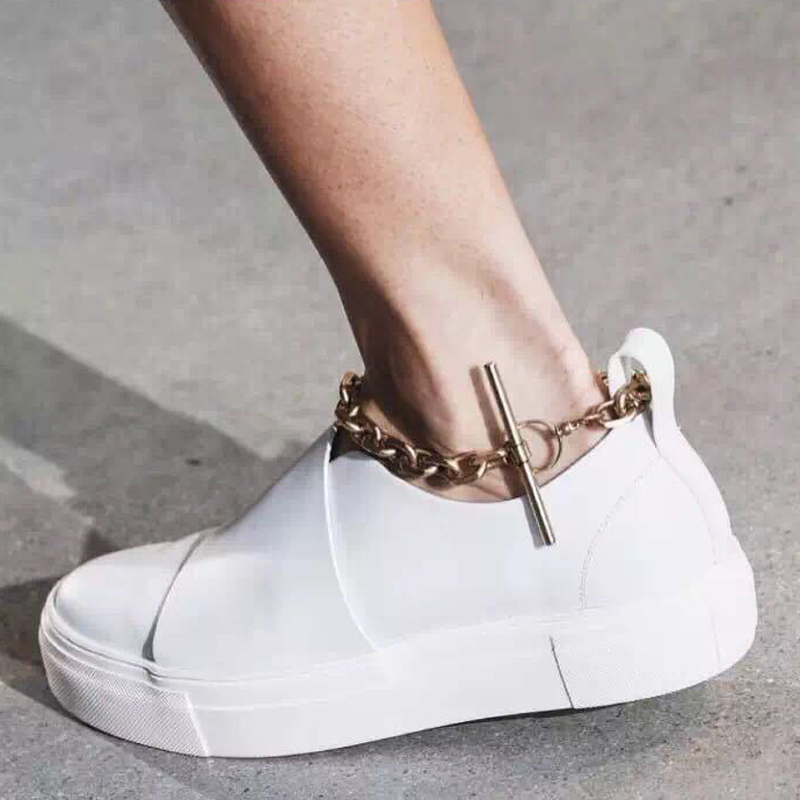 Gold Anklet Decoration Women Sneakers Slip-on Platform Women Shoes Brand Designer Genuine Leather Creepers White Shoes for Women designer women sandals summer creepers platform shoes peep wedges genuine leather slip on chaussure femme